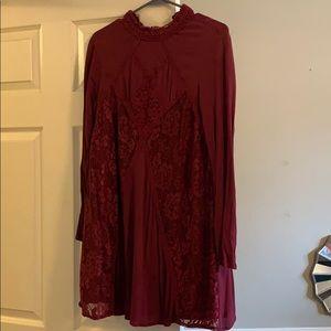 Fall/winter deep red dress